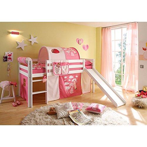*Rutschbett Kiefer massiv weiß EN 747-1 + 747-2 Hochbett Kinderbett Spielbett Jugendbett Massivbett Kinderzimmer Jugendzimmer*