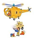 Feuerwehrmann Sam - Bergwacht Set 2 - Hubschrauber Wallaby 2 + Toms 4x4 Geländewagen mit Licht & Sound