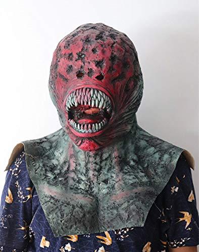 JUFENG Adult Latex Scary Mask Vollkopf Gesicht Atmungsaktiv Halloween Bloody Ekelhaft Rot Gesicht Scary Kostüm Horror