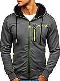 BOLF Herren Kapuzenpullover Sweatshirt Hoodie Zip Outdoor Sport Street Style T&C Star TC870 Dunkelgrau XXL [1A1]