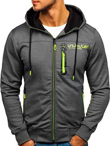 BOLF Herren Kapuzenpullover Sweatshirt Hoodie Zip Outdoor Sport Street Style T&C Star TC870 Dunkelgrau M [1A1] -