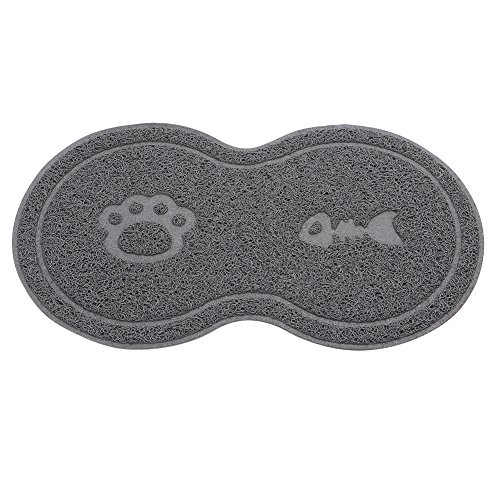 Qiuxiaoaa Pet Mat Für Essen Cat Bowl Mat Hund Pet Fütterung Wasser Futternapf Tablett Abwischen Boden PVC Tischset Heimtierbedarf Grau -