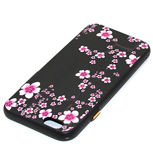 Hülle für iPhone 6 plus/6s Plus, Schwarz Silikon Schutzhülle für iPhone 6 plus/6s Plus Case TPU Bumper Handyhülle, Cozy Hut ® [Thin Fit] [Schock Absorption] Soft Flex Silikon Schlanke Hülle [Schwarz]  Pflaumenblüte