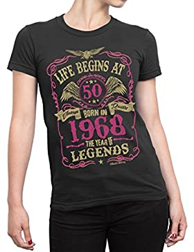 Buzz Shirts Life Begins At 50 Mujer Senoras Camiseta - Born In 1968 Year of Legends 50th Regalo de Cumpleaños