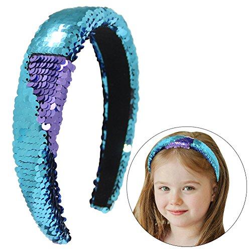 QtGirl 3 cm Frauen Magie Reversible Pailletten Stirnband Meerjungfrau Gepolsterte Haarband für Mädchen Pferdeschwanz Party Yoga Waschen Gesicht (teal / lila) (Große Stirnband Reversible)
