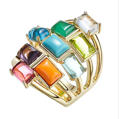 SHYNAN Shining Rings - Vintage Glass Stone Rings Golden Damen Cocktail Accessoires Schmuck Damen (Glas Cocktail-ring)