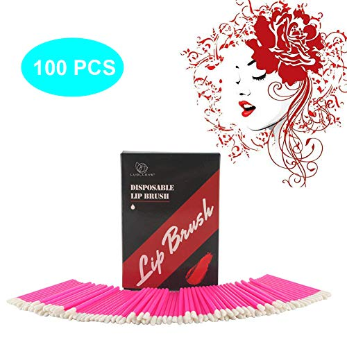 Applicatori Monouso,LUOLLOVE 100 PCS/Bag Applicatori Monouso Rossetto,Accessorio Monouso Pennello per Labbra,con Una bella Scatola per Natale(Rosa)