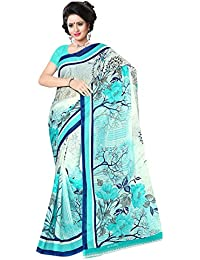 Sidhidata Textile Women's Georgette Printed Daily Wear Synthetic Saree With Unstitched Blouse Piece (print Forest_Sky...