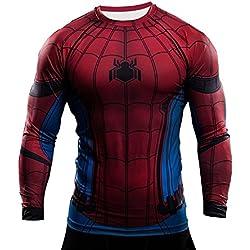 Camiseta de compresión de manga corta Born2RideTM, interior, térmica, ideal para gimnasio o ciclismo, diseño de superhéroe Rojo Spiderman Red/Blue Long Sleeve Large