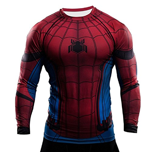 Born2RideTM Shirt im Superheld-Kostüm für Fitnessstudio/Radsport, Compression Baselayer T-Shirt mit kurzen Armen für Herren Gr. L, Spiderman Red/Blue Long Sleeve