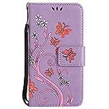 Nancen Tasche Hülle für, Galaxy Core Prime SM-G360 Hülle, Galaxy Core Prime SM-G360 G361 (4,5 Zoll) Leder Wallet Tasche Brieftasche Schutzhülle, Prägung Schmetterling Muster