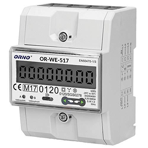 Orno OR-WE-517 Multitarif Stromzähler Hutschiene 3-Phasen-Anzeige des Stromverbrauchs mit MID Zertifikat, Modbus Kommunikationsprotokoll || 0,25A - 80A || 3 x 230V/400V, 50/60Hz || 1000 imp/kWh