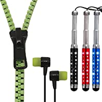 iSoul Combo Premium Quality Mega Bass Stereo Sound Zip Zipper In-Ear Hands-Free Earphone HeadPhone Headset With Mic MicroPhone + 3X Metalic Dimound Retractable Expandable Stylus Touch Pen With Dust Plug For Mobile Phone Laptop Pc NoteBook Tablet, iPhone 6, 6 Plus, 5, 5C, 5S, 4, 4S, IPAD, IPOD, SAMSUNG GALAXY S2, S3, S4, NOTE 1, 2, 3, HTC ONE, MAX, S, SC, ST, SU, V, X, Computer, Mobile phones, Mp3, Mp4 Player (Zipper Green)