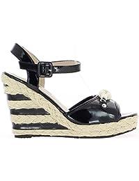 ChaussMoi - Sandalias de vestir de sintético para mujer, color negro, talla 43.5