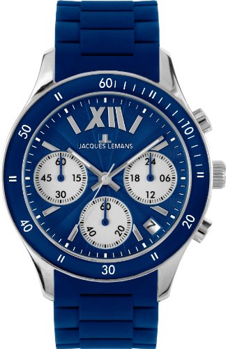Jacques Lemans Unisex Rome Sports Wrist Watch 1-1586C with Blue Silicone Strap
