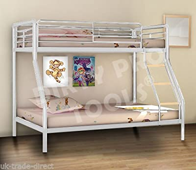 Dirty Pro ToolsTM Brand New Triple Sleeper Bunk Bed Metal Single Double Triple 3 Children's Bunk Bed Available in Silver Black or White - Low price introductory offer (White)