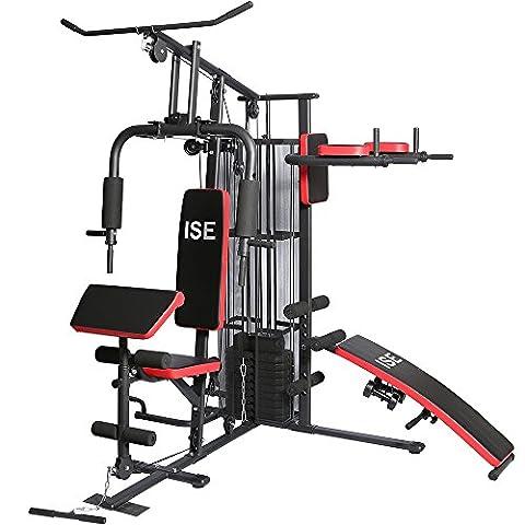 ISE Station de musculation Banc de musculation Multifonction avec poids SY-4009