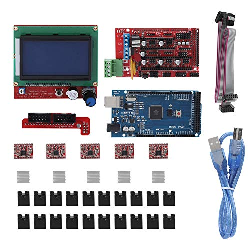 Zunate Arduino 3D Kit Controller Mega, Scheda Madre Stampante 3D RAMPS 1.4 Schermatura + Circuito + Motore Passo-Passo + LCD per Arduino RepR