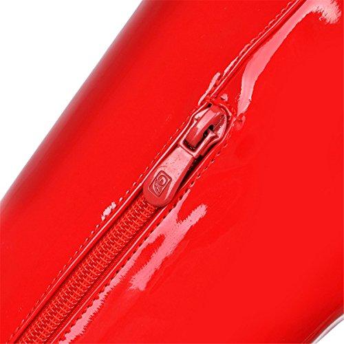 YE Damen Lack High Heels Plateau Overknee Stiefel mit Blockabsatz Schnallen Reißverschluss Boots wasserdichte Winterschuhe Rote