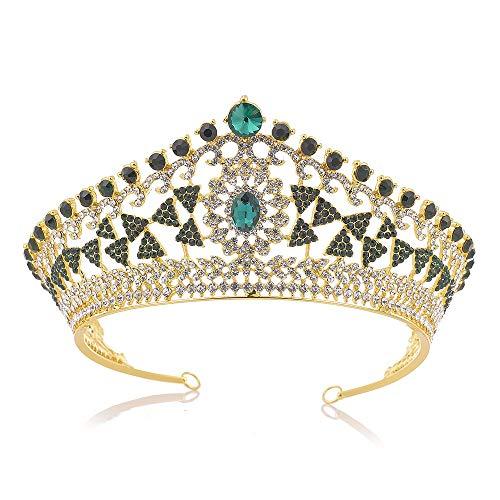 Diademe für Erwachsene Brautkrone Tiara Crystal Party Haarschmuck für Frauen für Hochzeitsfeier und Bühnenauftritt Hochzeit Krone Braut Prinzessin Kopfschmuck ( Farbe : Grün ) ()