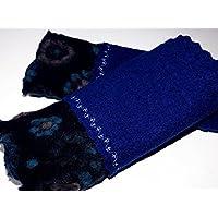 Armstulpen / Pulswärmer aus Walkwolle (Walk, Walkstoff) in Dunkelblau und Nacht-Blau mit Blumen-Relief in Türkis und Grün; Bort, Zierstiche
