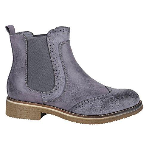 Stiefelparadies Damen Stiefeletten Chelsea Boots Zipper Leder-Optik Schuhe Nieten Metallic Lack Glitzer Blockabsatz Booties Profilsohle Flandell Grau Camiri
