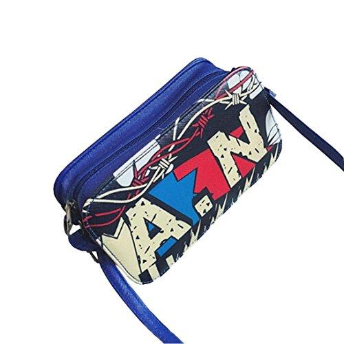 Zarupeng Frauen A. N Graffiti Design Schultertasche Messenger Handtasche Blau