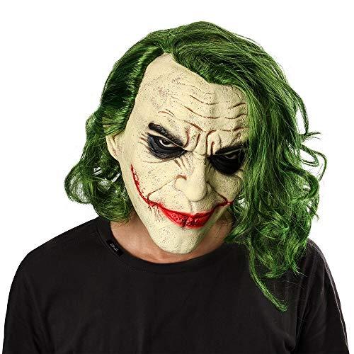 Joker Weibliche Batman Kostüm - Joker Mask Film Batman The Dark Knight Cosplay Horror Scary Clown Maske mit grüner Haarperücke Halloween Latex Maske Party Kostüm