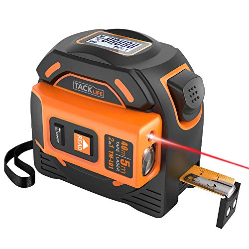 Massband Laser Entfernungsmesser, Tacklife TM-L01 Maßband Laser Messgerät Entfernung mit LCD Hintergrundbeleuchtung, Doppelseitige Skala Bandmass Bandmaß mit Magnet Haken -