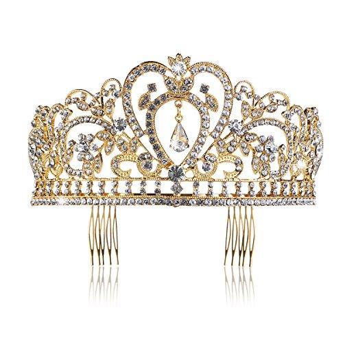 Pixnor Hochzeit Braut Kronen-Stirnband Tiara Strass Kopfstück (Gold Tiara)