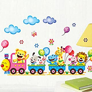 acmebuy (TM) DIY Removable Wall Stickers Cartoon Cute Animals Train Balloon Kids Bedroom Home Decor Mural Decal Small Size 25 * 43