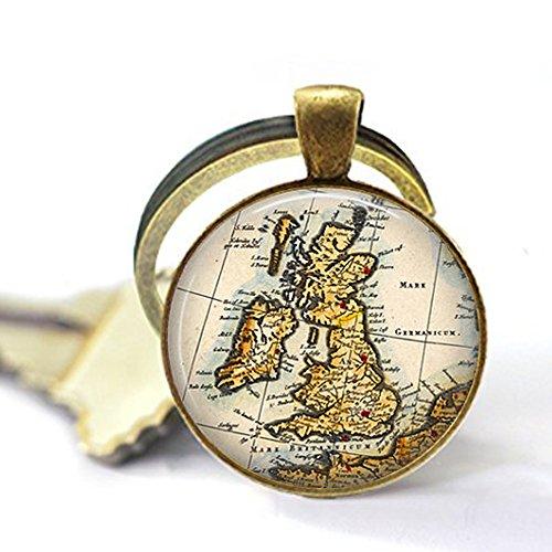 bab UK Großbritannien Großbritannien Großbritannien Großbritannien Vintage Karte - England Schottland Wales Irland - Fernweh - Wanderlust Schlüsselanhänger