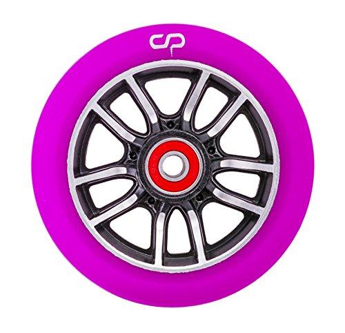 Crisp F1 forged Stunt-Scooter Wheel 110mm + Abec9 Kugellagern CNC Black / Pu Purple (Eagle Wheels Scooter)