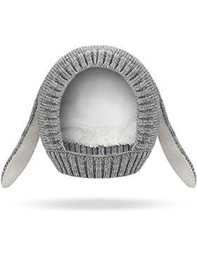 Jooheli Strickmütze Baby, Unisex Baby Mütze/Hüte Grau Hasenohren Mütze Wärmer Beanie Strickmütze Unifarbe Wintermütze
