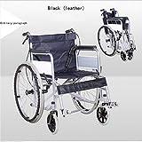WShijie Faltbarer Rollstuhl Licht tragbarer Ultra Leichter älterer Multifunktionslaufkatze Rollstuhlauto behinderten Roller,softseatleather