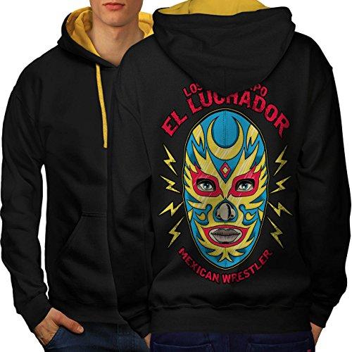 El Luchador Ringer Mexikaner Men S Kontrast Kapuzenpullover Zurück | Wellcoda (Herz-ringer)