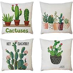 Fossrn 4PC/Conjunto Fundas Cojines 45x45 Geométricas Modernos Funda de Cojines para Sofa Jardin Cama Decorativo (Cactus)