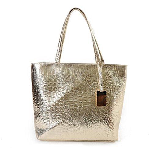 Sportliche Frauen Umhängetaschen Silber Gold Schwarz kroko Handtasche PU Leder Weibliche große Tasche Damen Taschen Sac gold 40 cm