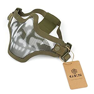 GES Outdoor Tactical CS Masque en maille de fil Airsoft Mesh Steel demi-masque avec camouflage pour Airsoft Shooting Paintball