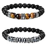 Yadika 2 Stücke Tigerauge Stein Perlen Armbänder Set für Mann Frauen Elastische Armbänder