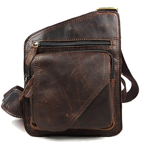 insum Herren Leder Retro Schultertasche Messenger Bag, Braun - schokolade - Größe: One size (Coach Bag Camera)