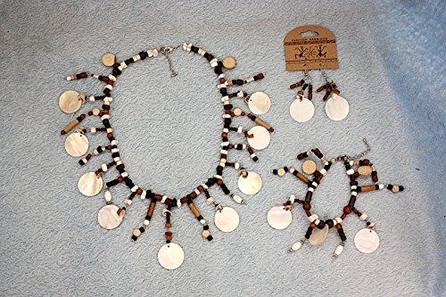 Hejoka-Shop NEUHEIT Ohrschmuck Set 3 TLG. Perlmutt-Stein-Knochen Collier+Armband+ Ohrringe EDEL -