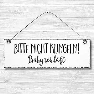 Bitte nicht klingeln Baby schläft – Dekoschild Türschild Wandschild aus Holz 10x30cm – Holzdeko Holzbild Deko Schild
