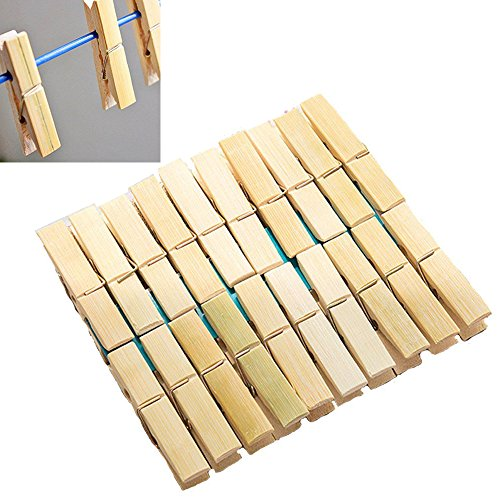 OURZ Bamboo Wooden Cloth Drying NON RUST Clips Peg Set – 20 Pcs Set