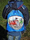 Aminata Kids - Turnbeutel Feuerwehr-Auto Jungen hell-blau Sport-Beutel Kindergarten Kinder-Rucksack Bedruckt Schule Krippe Turnen Feuerwehr-Mann klein Test