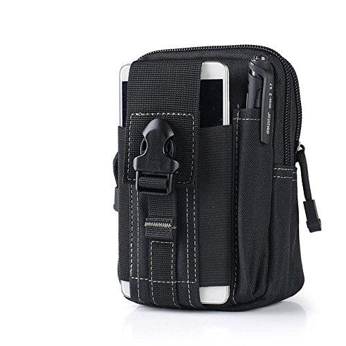 90puntos táctico Molle EDC bolsa compacta al aire libre multiusos utilidad Gadget herramienta cinturón cintura bolsa Pack, negro