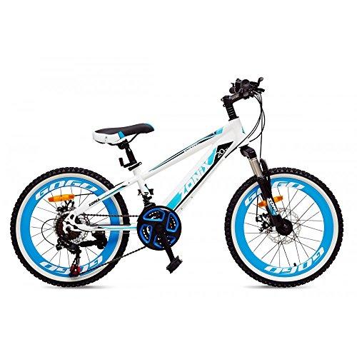 Bicicletta Zonix MTB Astro Boy 20 Pollici Cambio Shimano 21 Velocità Bianco Celeste 85% Assemblata