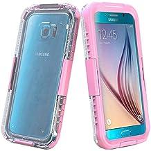 Semoss Cristal Claro Transparente Funda Impermeable Carcasa para Samsung Galaxy S6 Edge G925 Submarine Waterproof Acuatica Sumergible Protectora Bumper Hard Case Cover - Rosa