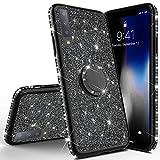 Homikon Silikon Hülle Kompatibel mit Samsung Galaxy A7 2018 Überzug TPU Bling Glitzer Strass Diamant Schutzhülle mit 360 Grad Ring Ständer Flex Durchsichtig Silikon Handyhülle Tasche Case - Schwarz
