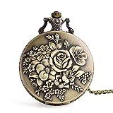 Flor Vintage Reloj de Bolsillo Collar de Cuarzo Cadena para Hombres Mujeres niños/niñas